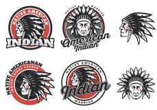 Set of american indian round logo. Royalty Free Stock Images