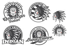 Set of american indian round logo, badges and emblems isolated on white background. Face, head of american indian. Tee print design Royalty Free Stock Photos