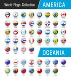 Set of American and Oceanian flags - Vector round icons Royalty Free Stock Photography