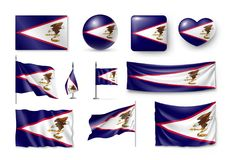 Set American Samoa realistic flags, banners, banners, symbols, icon Stock Photos