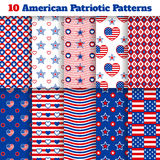 Set of American seamless patterns. Set of ten American seamless patterns with stars, strips, flags and hearts Stock Image