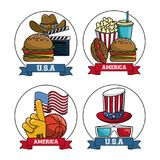 Set of american sports and movies royalty free illustration