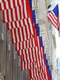 Set of american usa flags outside building. Set of american or usa flags outside building stock photos
