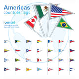 Set of Americas flags, vector illustration. Stock Photography