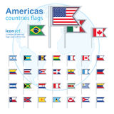 Set of Americas flags, vector illustration. Stock Photos