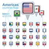 Set of Americas flags, vector illustration. Royalty Free Stock Photo