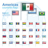 Set of Americas flags, vector illustration. Royalty Free Stock Images