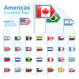 Set of Americas flags, vector illustration. Royalty Free Stock Photos