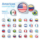 Set of Americas flags, vector illustration. Royalty Free Stock Photography
