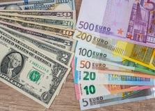 set Amerykańscy dolary i set euro Zdjęcie Stock