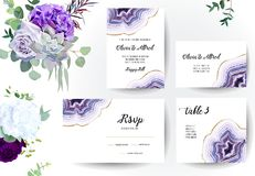 Set of amethyst crystal geode purple horizontal vector frames and flowers. Stylish ultraviolet texture card.Gold border.Sparkling gems.Natural stone.Trendy royalty free illustration