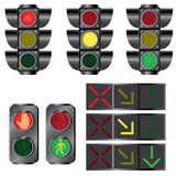 Set Ampeln. Stockbilder