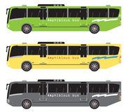 Set of amphibian bus or land and water touring Stock Images