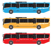 Set of amphibian bus or land and water touring Stock Photos