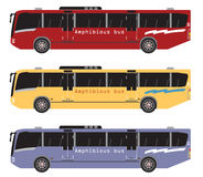 Set of amphibian bus or land and water touring Royalty Free Stock Images