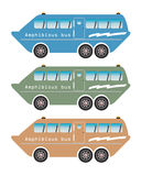 Set of amphibian bus or land and water touring Stock Image