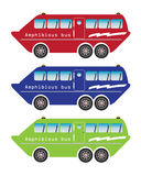Set of amphibian bus or land and water touring Stock Photography