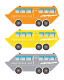 Set of amphibian bus or land and water touring Royalty Free Stock Photography