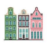Set of 3 Amsterdam old houses cartoon facades Royalty Free Stock Images