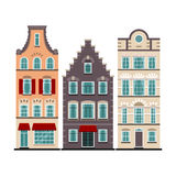 Set of 3 Amsterdam old houses cartoon facades Royalty Free Stock Photography
