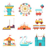 Set of amusement park elements on white background Royalty Free Stock Images