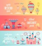 Set of Amusement park landscape banners. royalty free illustration