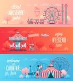Set of Amusement park landscape banners vector illustration