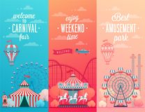 Set of Amusement park landscape banners with carousels, vector illustration