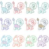 Set of amusing cartoon lions. Set of twelve amusing cartoon lions with various decorative design elements, vector illustration vector illustration