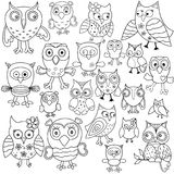 Set of amusing owl outlines Stock Image