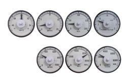 Set of analog meter for measuring electric volt, amp, power, frequency and power factor for monitor reading value before sync the. Electric system together stock photos
