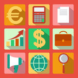 Set of 9 analysis, marketing colorful square icons Royalty Free Stock Images