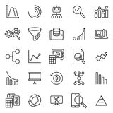Set of analysis thin line icons. High quality pictograms of analytics. Modern outline style icons collection Royalty Free Stock Images
