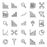 Set of analytic thin line icons. High quality pictograms of data. Modern outline style icons collection stock illustration