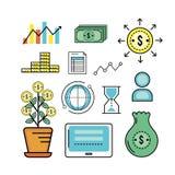 Set analytics finance to business corporation strategy. Vector illustration Stock Image