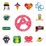 Set of anarchy, gryphon, lifetime warranty, mobile os a, skull with headphone, all news channel, sorry, krishna, eagle icons. Set Of 13 simple  icons such as Royalty Free Stock Image