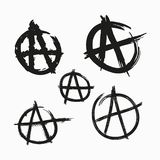 Set of Anarchy symbols. Painted with rough grunge brushes. Vector illustration. Set of Anarchy symbols. Painted with rough grunge brushes. Isolated vector vector illustration