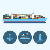 Set with anchor, lighthouse and container ship Stock Photos