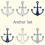Set of anchor logo Royalty Free Stock Photo