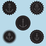 Set of anchor logo. Nautical theme.Sign of sailor club and nautical company Royalty Free Stock Photos