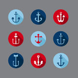 Set of Anchor Nautical Icons Royalty Free Stock Photo