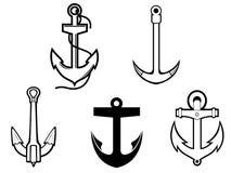 Set of anchor symbols Royalty Free Stock Photos
