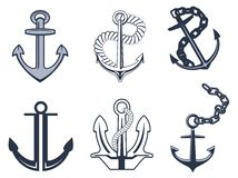 Set of anchor symbols Royalty Free Stock Photo