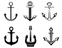 Set of anchor symbols royalty free illustration