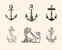 Set of Anchors Royalty Free Stock Photos