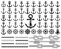Set of anchors, rudders icons, and ropes. Vector illustration Royalty Free Stock Images