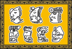 Set of ancient american indian facial patterns Royalty Free Stock Images