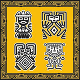 Set of ancient american indian human patterns Royalty Free Stock Images