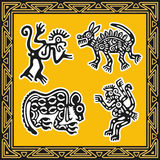 Set of ancient american indian patterns. Animals. Royalty Free Stock Photo