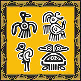 Set of ancient american indian patterns. Birds Stock Images
